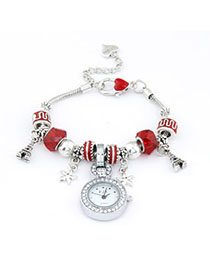 Medieval Red Elements Decorated Simple Design Alloy Ladies Watches