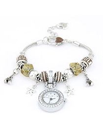 Liquid Brown Elements Decorated Simple Design Alloy Ladies Watches