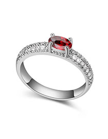 Glueless Garnet Red Diamond Decorated Simple Design Zircon Crystal Rings