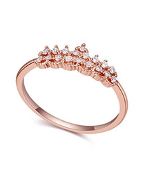 Correspond White & Rose Gold Crown Shape Decorated Simple Design Alloy Crystal Rings