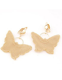Bridesmaid Gold Color Butterfly Decorated Hollow Out Design Alloy Korean Earrings