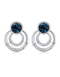 Roller Dark Blue Diamond Decorated Round Shape Design Alloy Crystal Earrings