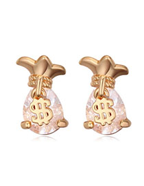 Screw White & Champagne Gold Purse Shape Decorated Simple Design Zircon Crystal Earrings