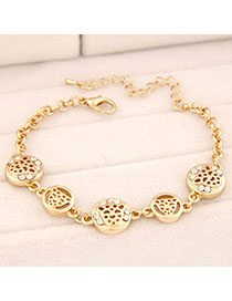 Street Gold Color Leopard Shape Decorated Hollow Out Design Alloy Korean Fashion Bracelet