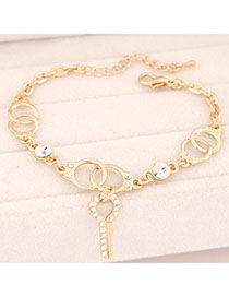 Peridot Gold Color Diamond Decorated Handcuffs Shape Design Alloy