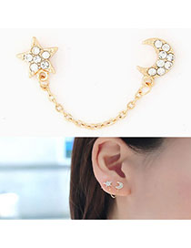 Victorian Gold Color Star & Moon Shape Decorated Simple Design Alloy Stud Earrings