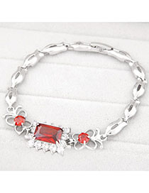 Wholesale Red Diamond Decorated Square Shape Design Zircon Fashion Bracelets