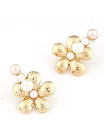 Tanzanite Gold Color Flower Shape Decorated Simple Design Alloy Stud Earrings