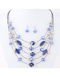 Political Blue Beads Decorated Mutilayer Design Alloy Jewelry Sets