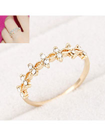 Moving Gold Color Diamond Decorated Simple Design Alloy Korean Rings