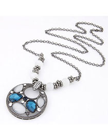 Collar Blue Gemstone Decorated Waterdrop Shape Design Alloy Beaded Necklaces