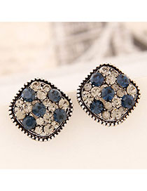Vibrating Silver Color Diamond Decorated Square Shape Design Alloy Stud Earrings