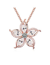 Tummy White & Rose Gold Diamond Decorated Flower Pendant Design Zircon Crystal Necklaces