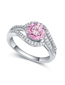 Fit Pink Diamond Decorated Simple Design Zircon Crystal Rings