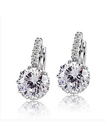 Funny White Diamond Decorated Simple Design Alloy Crystal Earrings