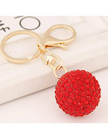 Ethnic Red Diamond Decorated Round Shape Design Alloy Fashion Keychain