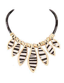 Squash Black Leopard Pattern Decorated Simple Design Alloy Fashion Necklaces