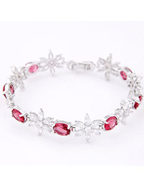 Liquid Red Diamond Decorated Flower Design Zircon Korean Fashion Bracelet