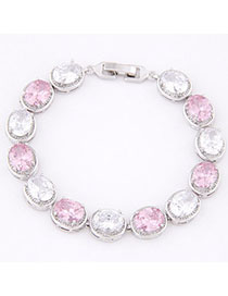 Disposable Pink & White Diamond Decorated Oval Shape Design Zircon Korean Fashion Bracelet