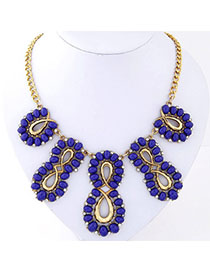 Elephant Sapphire Blue Gemstone Decprated Hollow Out Design Alloy Fashion Necklaces