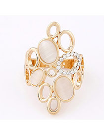 Modern Apricot Diamond Decorated Oval Shape Design Alloy Korean Rings
