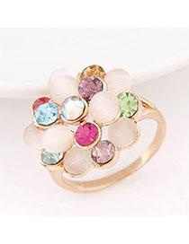 Hiking Multicolor Diamond Decorated Flower Design Alloy Korean Rings