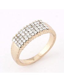 Lightest White Diamond Decorated Simple Design Alloy Korean Rings