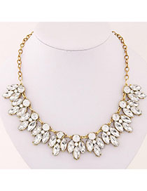Political White Diamond Decorated Waterdrop Shape Design Alloy Bib Necklaces