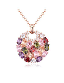 Rent Multicolor & Rose Gold Diamond Decorated Round Pendant Design Zircon Crystal Necklaces