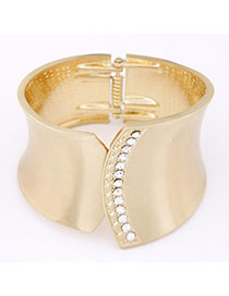 Ruby Gold Color Diamond Decorated Geometrical Shape Wide Design Alloy Fashion Bangles
