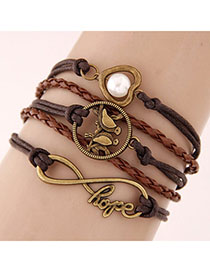Cute Black Hand&eye Shape Pendant Decorated Multilayer Bracelet