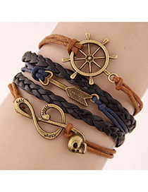 Scene Black Skull Shape Decorated Multilayer Design