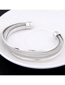 Fine Silver Color Metal Decorated Simple Design Alloy Fashion Bangles