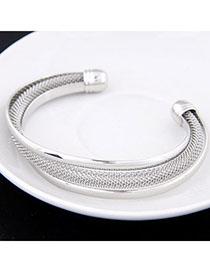 Fine Silver Color Metal Decorated Simple Design Alloy Fashion Bangles