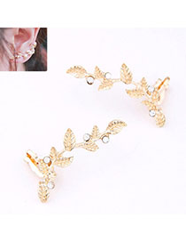 Carters Gold Color Diamond Decorated Leaf Shape Design Alloy Stud Earrings