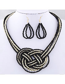 Bohemian Black Beads Decorated Multilayer Weave Design Beads Jewelry Sets
