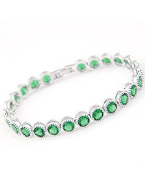 Homecoming Green Diamond Decorated Simple Design Zircon Fashion Bracelets