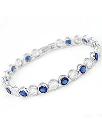 Traditiona White & Blue Diamond Decorated Simple Design Zircon Fashion Bracelets