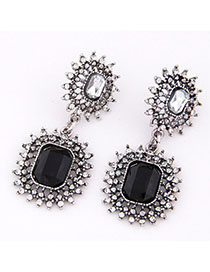 Fashion Black Gemstone Decorated Hollow Out Design Alloy Stud Earrings