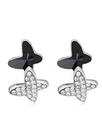 Pendants Black Diamond Decorated Butterfly Shape Design Alloy Crystal Earrings