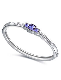 Equestrian Pinkish Purple Diamond Decorated Simple Design Alloy Crystal Bracelets