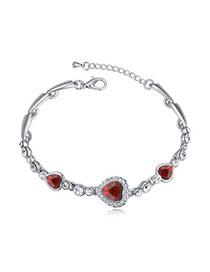 Alternativ Red Heart Shape Decorated Simple Design Alloy Crystal Bracelets