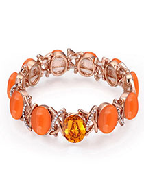 Bodybuildi Orange & Rose Gold Gemstone Decorated Oval Shape Design Alloy Crystal Bracelets