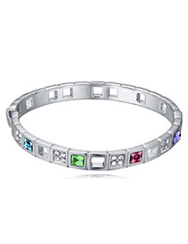 Cranes Multicolor Diamond Decorated Simple Design Alloy Crystal Bracelets