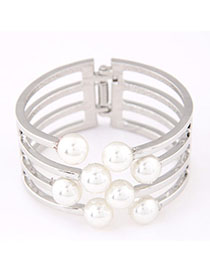 Plussize Silver Color Pearl Decorated Multilayer Design Alloy Fashion Bangles