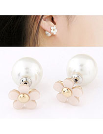 Hemming White Flower Shape Decorated Simple Design Alloy Stud Earrings