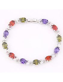 Tall Multicolor Gemstone Decorated Oval Shape Design Zircon Fashion Bracelets