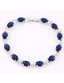 Streamline Dark Blue Gemstone Decorated Oval Shape Design Zircon Fashion Bracelets