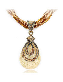 Cardboard Orange Diamond Decorated Waterdrop Pendant Design