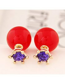 Kids Red Candy Color Round Shape Simple Design Alloy Stud Earrings